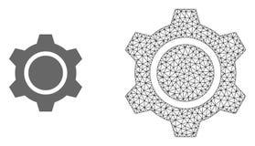Carcaça Mesh Gear do vetor e ícone liso ilustração do vetor