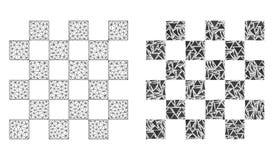 Carcaça poligonal Mesh Chess Board e ícone do mosaico ilustração do vetor
