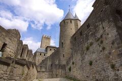 Carcasonne, France. Between the medieval walls. Carcasonne, France Stock Photo