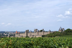 Carcasonne panorama. Of the city wall royalty free stock images