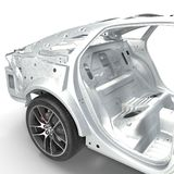Carcass af a sedan car with Chassis on white. 3D illustration Royalty Free Stock Image