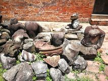 A carcass of Buddha statute in Ayutthaya that old historical`s Thailand country. Acarcass of Buddha statute in Ayutthaya province that old historical`s Thailand Royalty Free Stock Photos