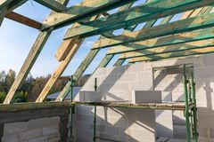 Carcass of the roof in house. Under construction Royalty Free Stock Images