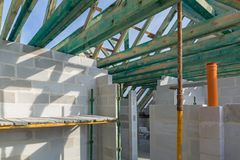 Carcass of the roof in house. Under construction Stock Image