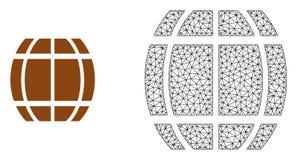 Carcassa Mesh Barrel di vettore ed icona piana royalty illustrazione gratis