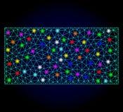 Carcassa Mesh Filled Rectangle di vettore con i punti luminosi per Chistmas illustrazione di stock