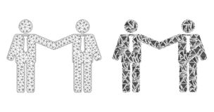 Carcassa poligonale Mesh Businessmen Relations ed icona del mosaico illustrazione vettoriale