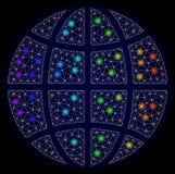 Carcassa poligonale Mesh Globe con i punti luminosi variopinti royalty illustrazione gratis