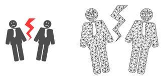 Carcasse Mesh Businessmen Conflict de vecteur et icône plate illustration libre de droits