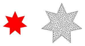 Carcasse Mesh Eight Corner Star de vecteur et icône plate illustration stock