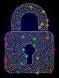 Carcasse Mesh Lock de vecteur avec les taches lumineuses colorées par arc-en-ciel illustration libre de droits
