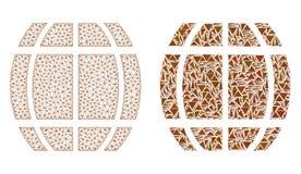 Carcasse polygonale Mesh Barrel et icône de mosaïque illustration libre de droits