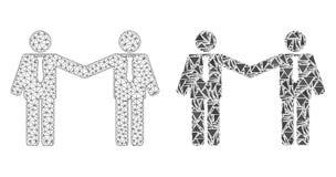 Carcasse polygonale Mesh Businessmen Relations et icône de mosaïque illustration de vecteur