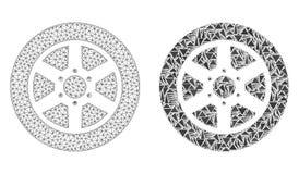 Carcasse polygonale Mesh Car Wheel et icône de mosaïque illustration stock