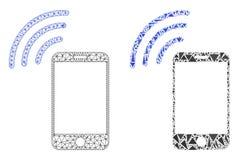 Carcasse polygonale Mesh Cellphone Signal et icône de mosaïque illustration de vecteur