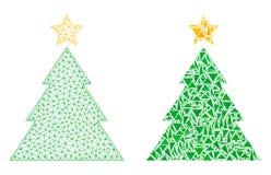 Carcasse polygonale Mesh Christmas Tree et icône de mosaïque illustration libre de droits