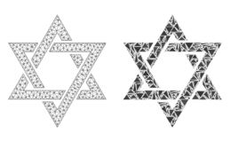 Carcasse polygonale Mesh David Star et icône de mosaïque illustration libre de droits