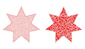 Carcasse polygonale Mesh Eight Corner Star et icône de mosaïque illustration de vecteur