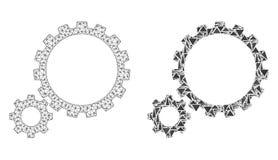 Carcasse polygonale Mesh Gear Transmission et icône de mosaïque illustration stock