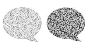 Carcasse polygonale Mesh Message Cloud et icône de mosaïque illustration de vecteur
