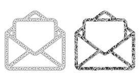 Carcasse polygonale Mesh Open Letter et icône de mosaïque illustration libre de droits