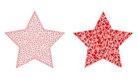 Carcasse polygonale Mesh Red Star et icône de mosaïque illustration de vecteur