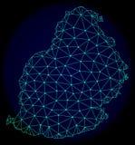 Carcasse polygonale Mesh Vector Abstract Map de Mauritius Island illustration stock