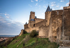 Carcassone fortress at evening sunset. Stock Images