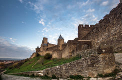 Carcassone fortress at evening sunset. Stock Photo