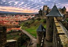 Carcassone fästning efter regn Royaltyfri Bild