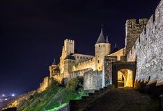 Carcassone medieval castle night view. Stock Photos