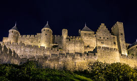 Carcassone medieval castle night view. Royalty Free Stock Images