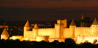 Carcassone at Night Stock Photography
