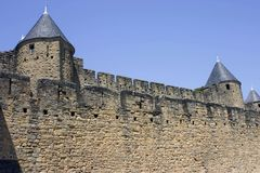 Carcassone towers palace. Carcassone tower palace in France Stock Photos
