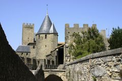 Carcassone towers palace. Carcassone tower palace in France Royalty Free Stock Photos