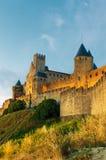 Carcassonne中世纪城镇日落的 库存图片