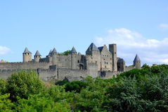 carcassonne城堡南的法国 免版税库存图片