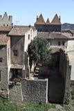 carcassonne村庄 免版税图库摄影
