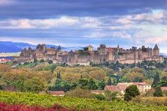 carcassonne筑了堡垒于城镇 库存照片