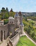 carcassonne筑了堡垒于城镇 免版税库存图片
