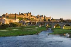 carcassonne黑暗的法国视图 免版税库存图片