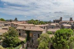 Carcassonne, Γαλλία Παλαιά πόλη: φρούριο πύργων, βασιλική του ST Nazaire Στοκ Εικόνα