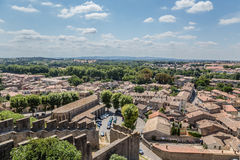 Carcassonne, Γαλλία Τοπίο με τις αρχαίες οχυρώσεις και τις απόψεις πόλεων Στοκ Εικόνες