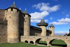 Carcassonne. Image of wall and towers in Carcassonne fortified town in France Stock Image