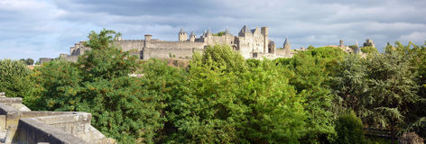 Carcassonne 4. General view of the Cite of Carcassonne from Old Bridge Royalty Free Stock Image