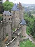 Carcassonne. The back walls of the medieval fortress of Carcassonne in France stock image