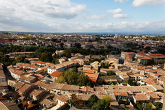 Carcassonne-the base city. Aerial view of the base city of Carcassonne in Aude department of France, seen form the walled city Stock Photography