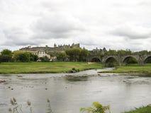 Carcassonne and bridge Royalty Free Stock Image