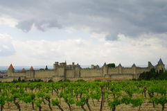 Carcassonne castel. Under storm in south of france Royalty Free Stock Photography