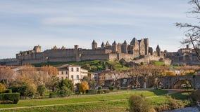 Carcassonne Castel am Tag stockfotografie